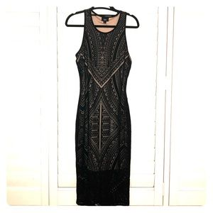 Hour glass tight aztec Black and Tan dress!